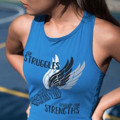 Struggles & Strengths Track & Field Running Wings T-Shirt Design