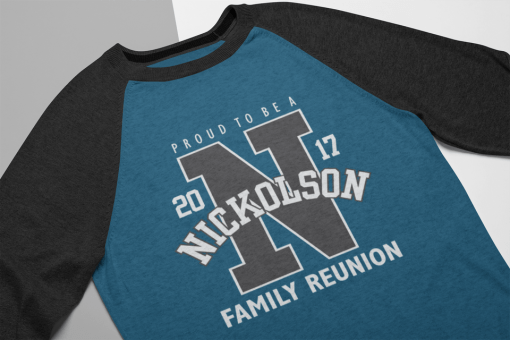 Athletic Letter Proud Family Reunion Custom T-Shirt Design Template