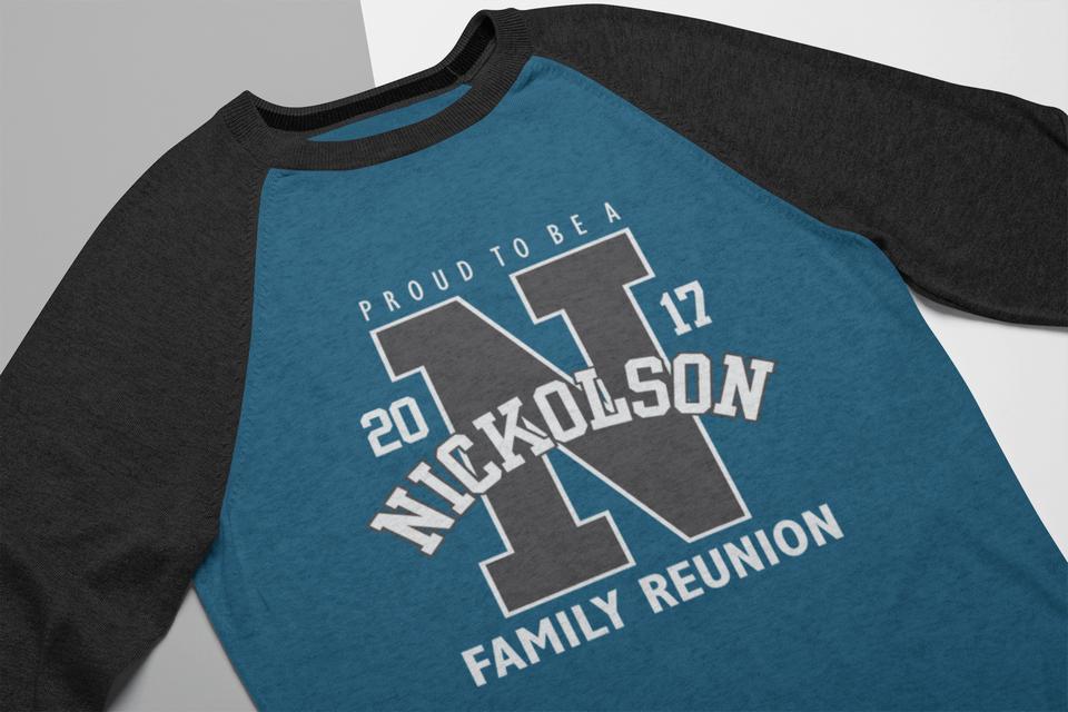 Athletic Letter Proud Family Reunion Custom T-Shirt Design Template
