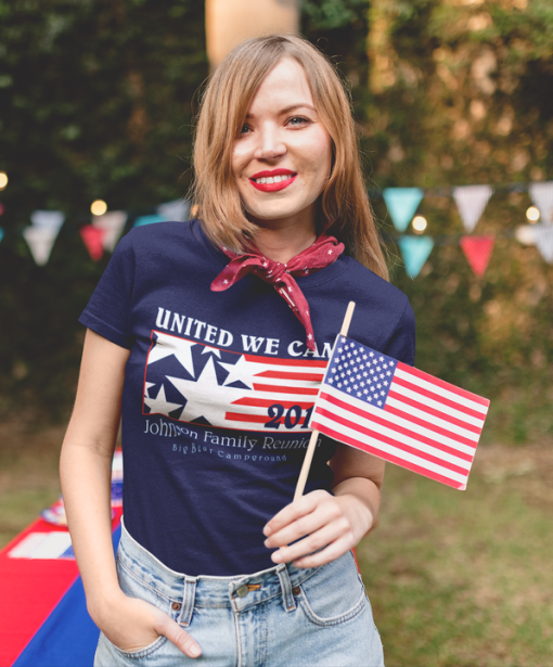 United We Camp Family Reunion Patriotic Flag Red White & Blue Camping T-Shirt Design Template
