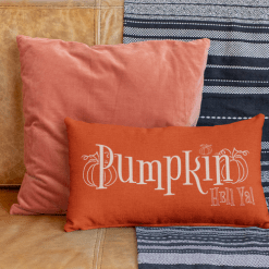 Pumpkin Hell Ya! Fall Autumn Merch Ready T-shirt Print Design on Pillow