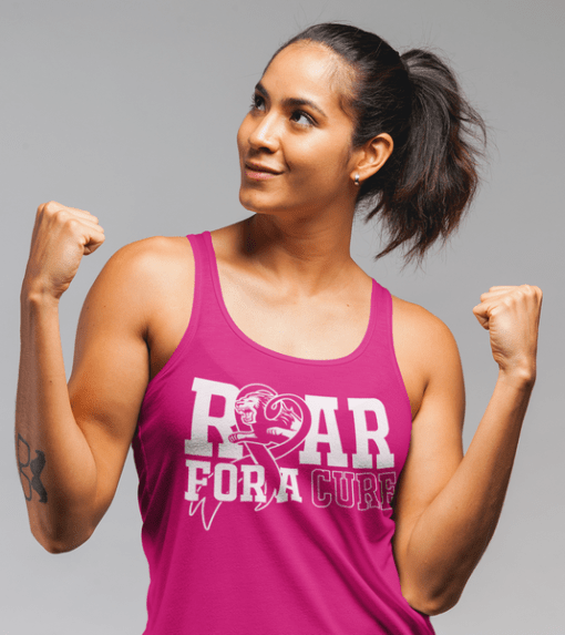 Roar For A Cure - Breast Cancer T Shirt Design 1