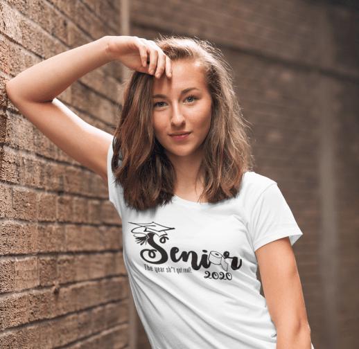 Senior 2020 Script T Shirt Design - The Year Shit Got Real Pandemic Coronavirus Covid-19 Quarantine Shirts Ready Made T Shirt Designs