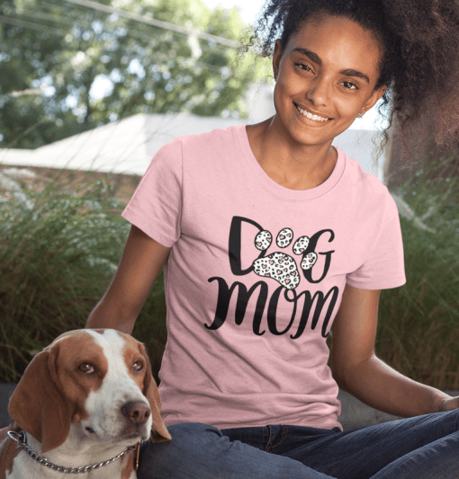 Dog Mom SVG Shirt Design - Leopard Print Heart SVG - Dog Paw Print SVG