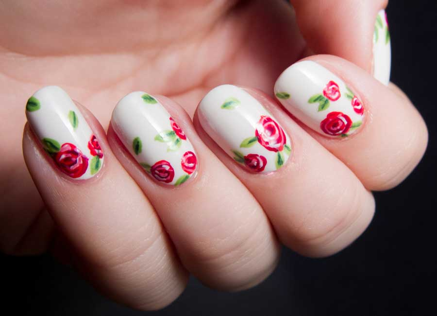 mini rose nail art