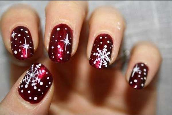 snow flakes nail art