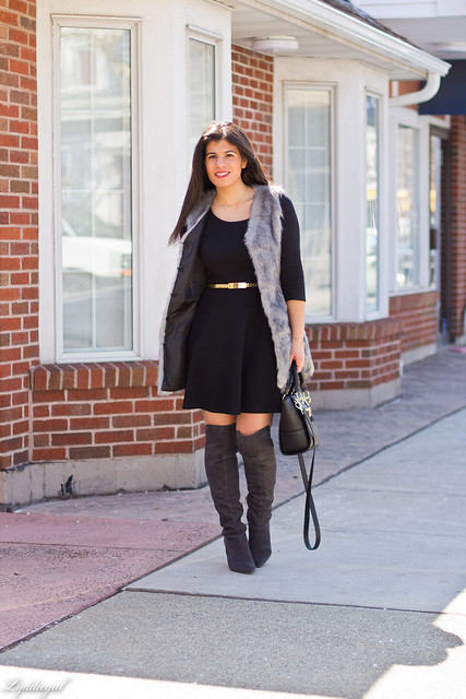 over the knee boots with fur vest