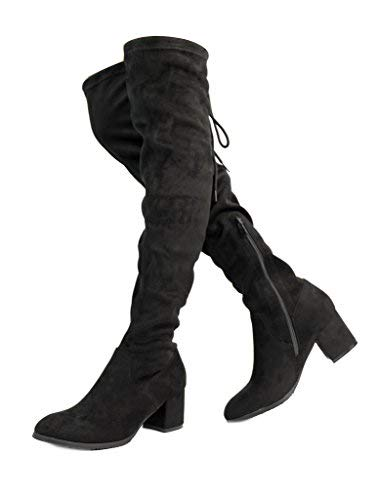 DREAM PAIRS Women's Over The Knee Thigh High Low Block Heel Boots