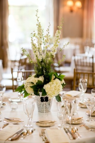 White Floral Centerpiece by Illinois Florist