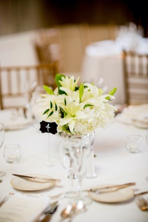 White Floral Centerpiece by Geneva, Illinois Florist