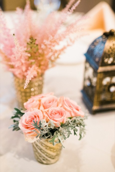 pretty pink reception centerpieces