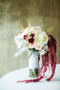 deep maroon, pink, and white bridal bouquet