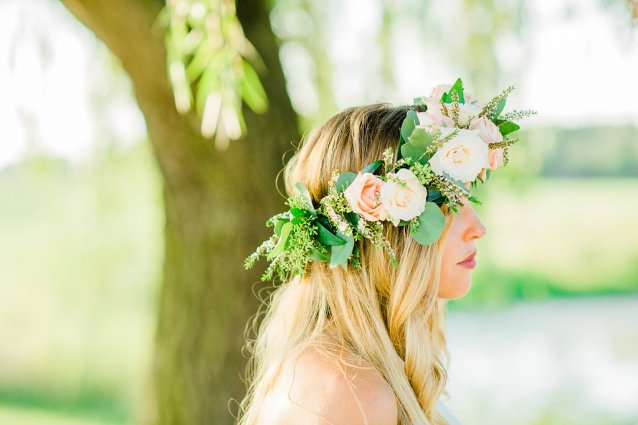 pink white and green bridal floral crown