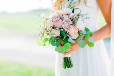 Pink and White Bridal Bouquet