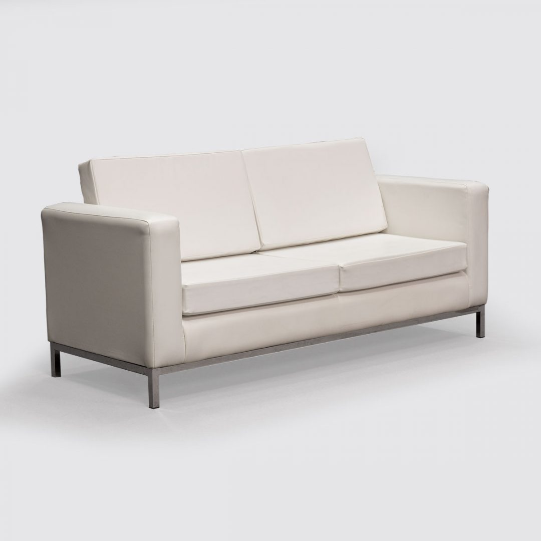 white faux leather 3 seater sofa