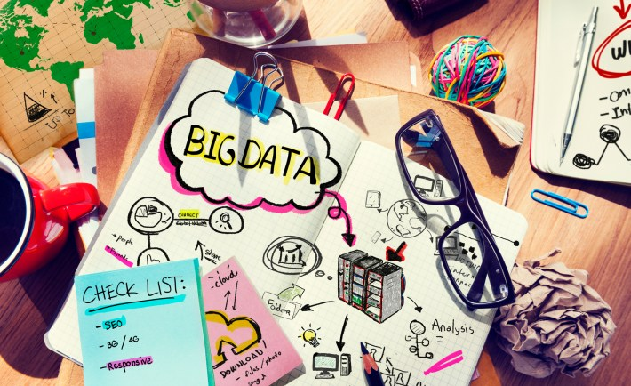 Messy Desk with Big Data Related Notes