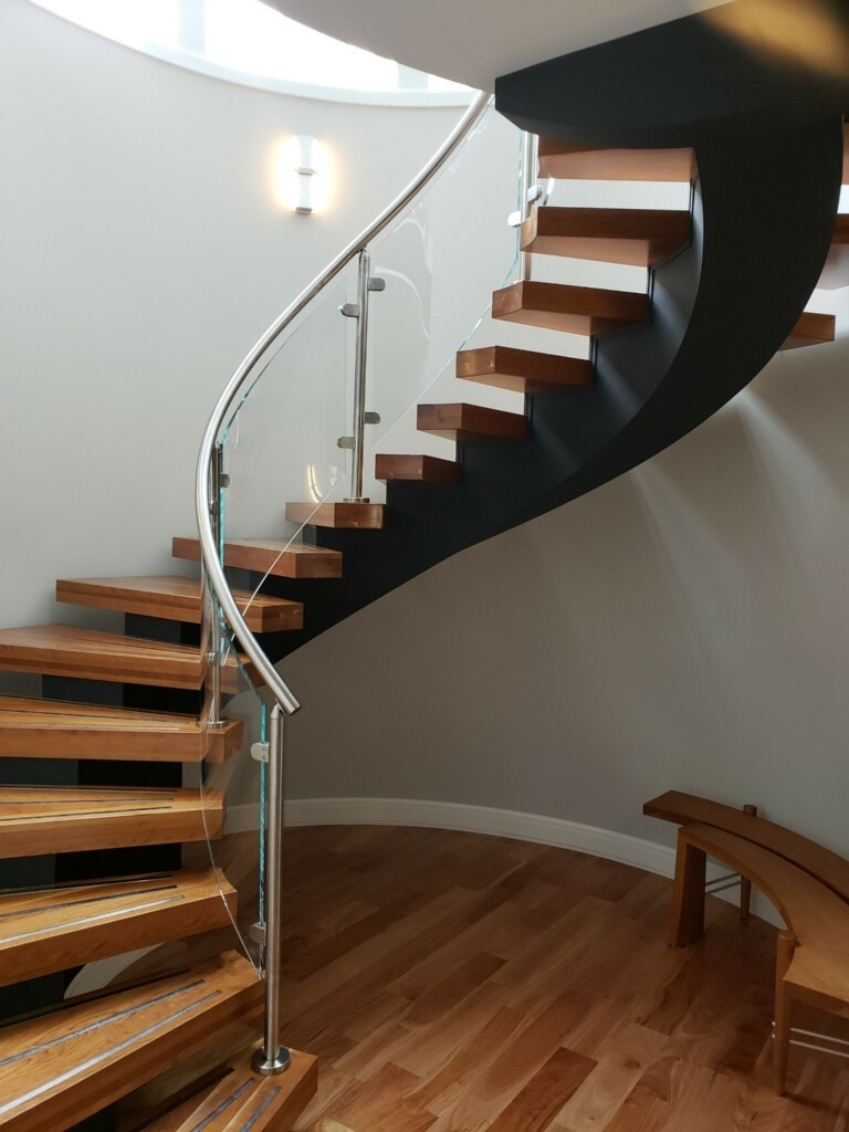 Glass Railing Installation Se Michigan Designs In Glass | Glass Handrails For Stairs | Wood | Frameless | Outside | Standoff | Residential