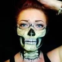 halloween face painting skull design