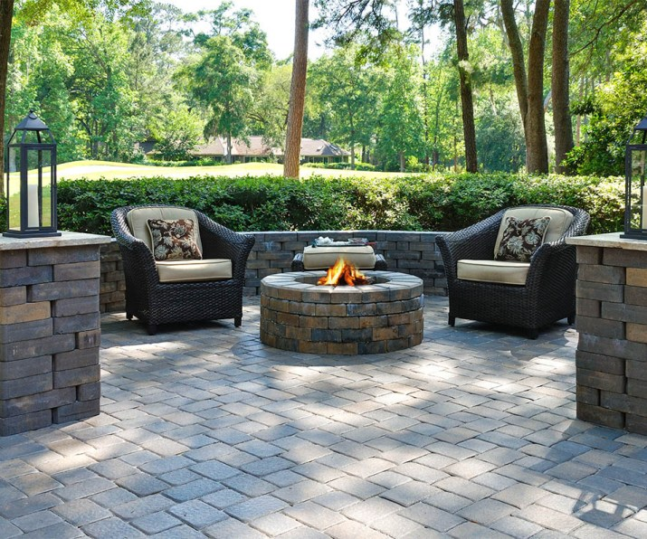 Smart-Paver-Patio-Ideas-with-Black-Arm-Chairs-also-Chic-Round-Fire-Place