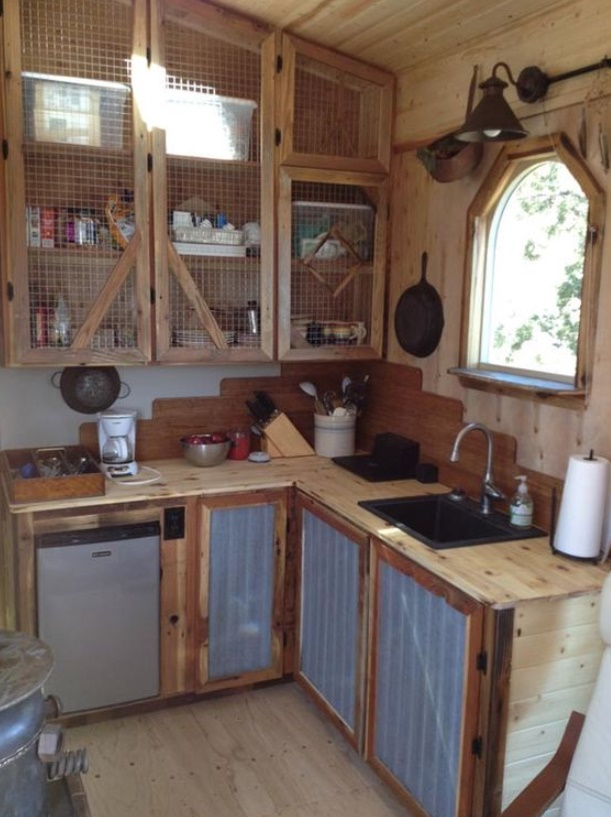 Roughened Wood Rustic Kitchen Cabinet