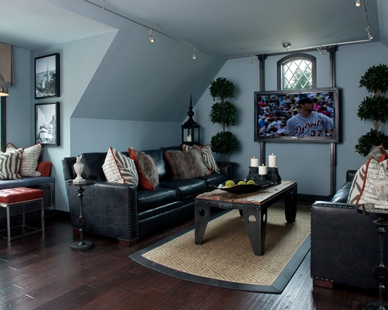 black attic living room ideas