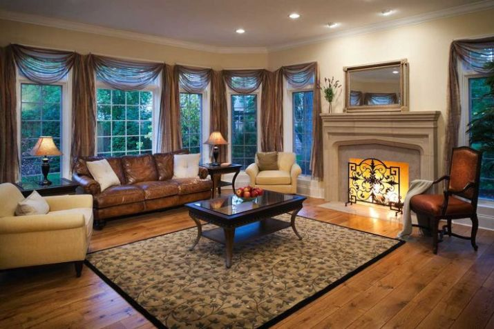 Lovely-residential-living-room-with-burning-fireplace