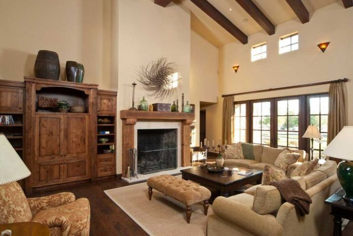 Modern-living-room-with-fireplace-and-large-wooden-cabinet