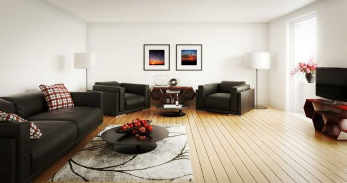 Modern-living-room-with-tv-carpet-and-black-sofa