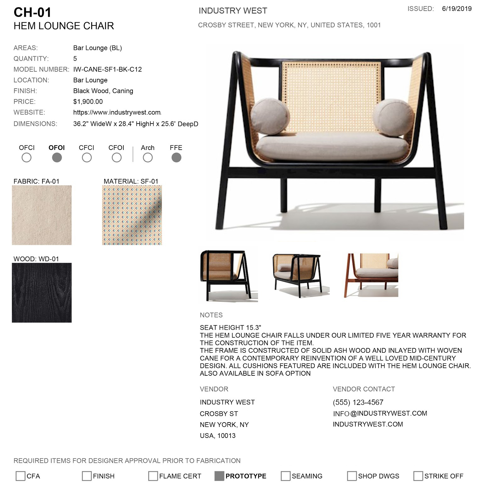 Furniture Specification Sheet Template