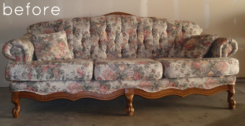 Before After Reupholstered Sofa With Custom Fabric Design