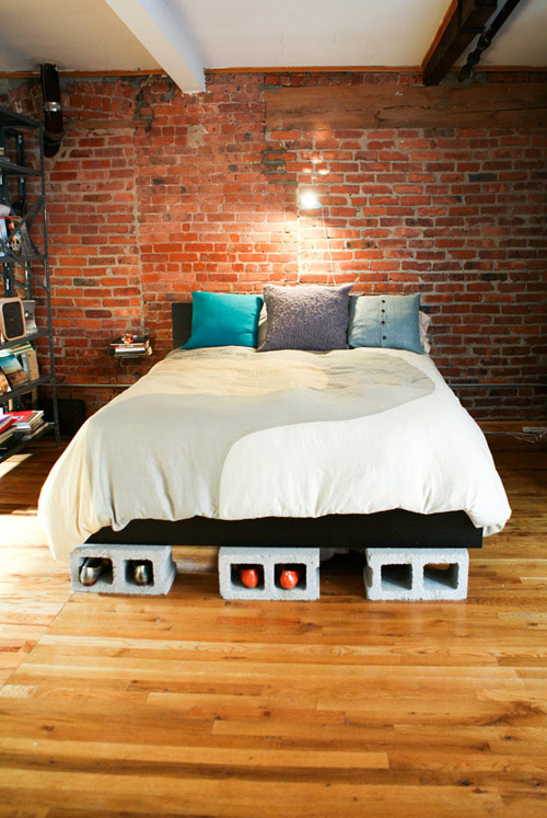 Cinder Blocks Bed Lifted on Cinder Block Bedframe Furniture with Brick Wall Design