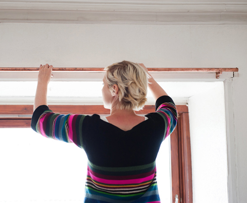 Diy Project Copper Curtain Rod With Geometric Cube Finials DesignSponge