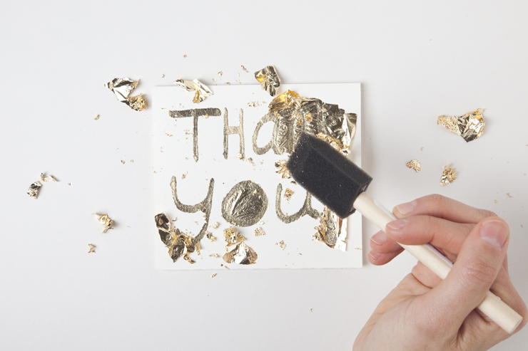 DIY Gold leaf cards by Jessica Marquez for Design Sponge