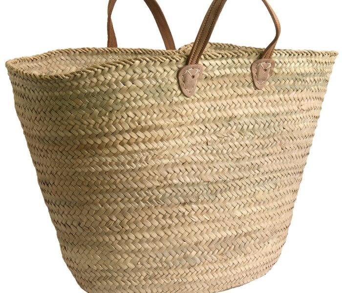 Large Leather Handled French Market Shopping Basket