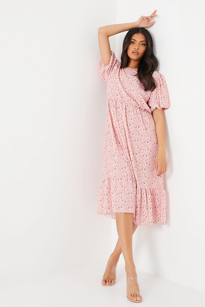 Pink Floral Puff Ball Sleeve Frill Hem Smock Midi Dress