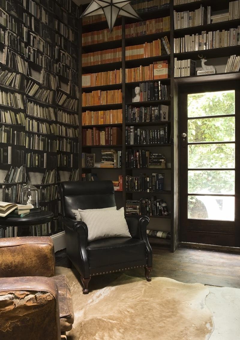 Library with Genuine Fake Bookshelves via EmpireVintage