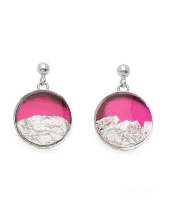 sterling silver earrings in hot pink with silver leaf