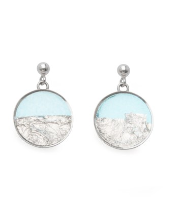 sterling silver earrings in blue with silver leaf