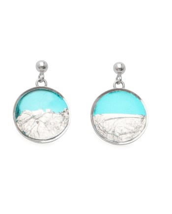 sterling silver earring with turquoise & silver leaf