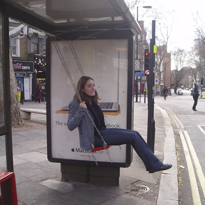 A bus stop that doubles up as a swing