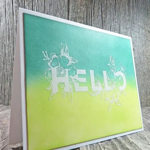 Heat Emboss Resist Two Tone Hello Greeting Cards