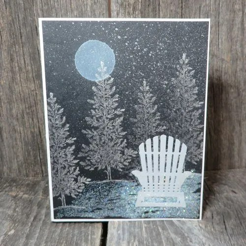 A Stamped Moonlit Night Sky Card