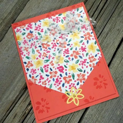 a different card design with garden impressions paper