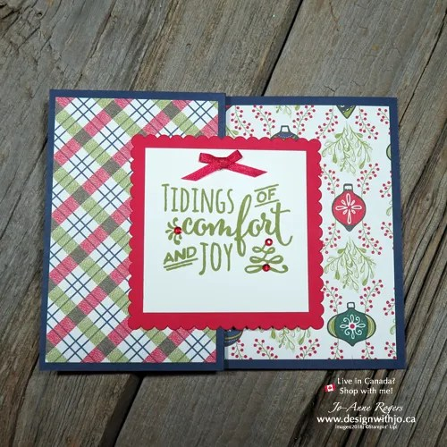 quick and simple Christmas card with Under the Mistletoe designer paper