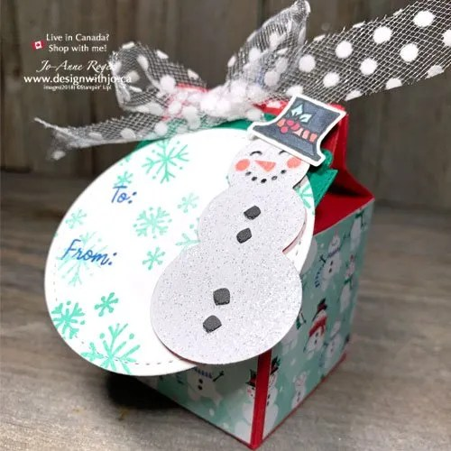 Holiday Mini Milk Carton Favour with Snowman Season Stamps from Stampin Up!
