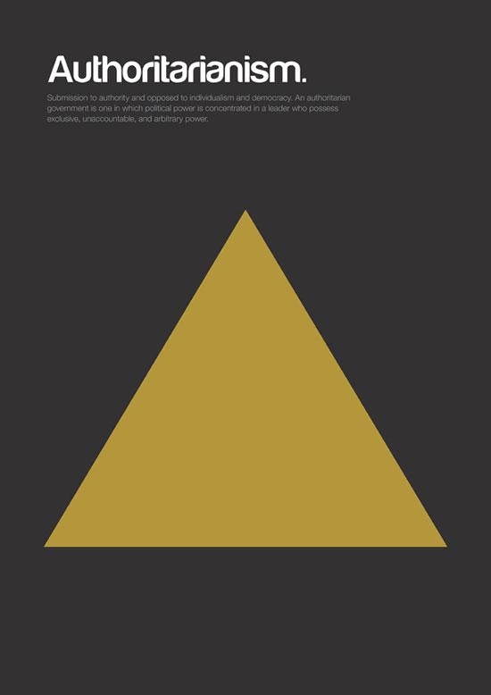Authoritarianism minimalist graphic design poster