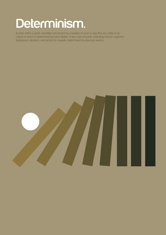 determinism minimalist graphic design poster