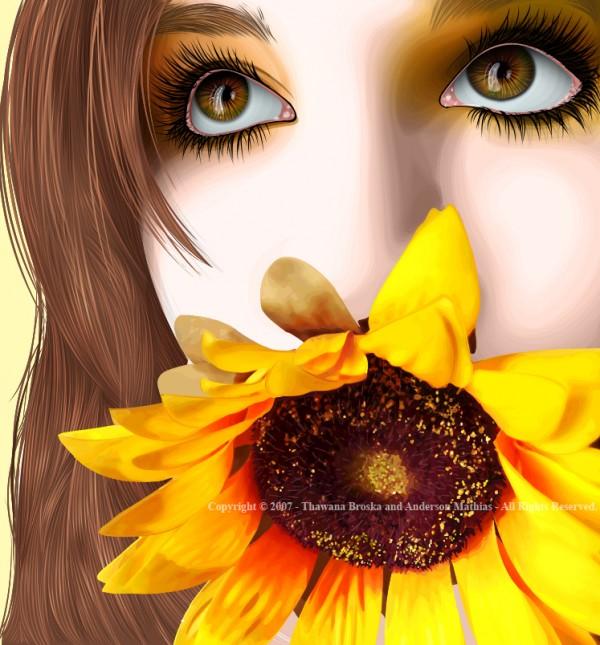 vexel illustration girl flower