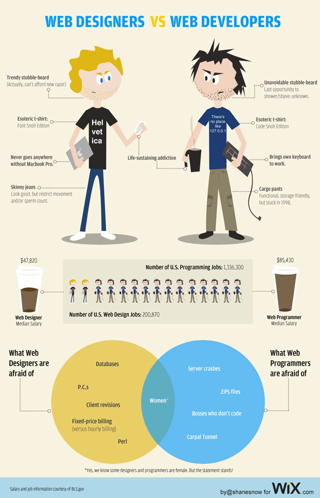 web designer vs web developer inforaphic