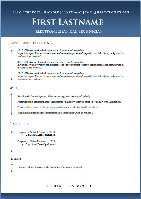 50 free microsoft word resume templates for - Free Resume Templates In Word
